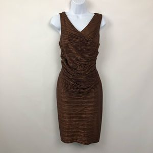 Calvin Klein Sheath Dress Copper Metallic Cocktail